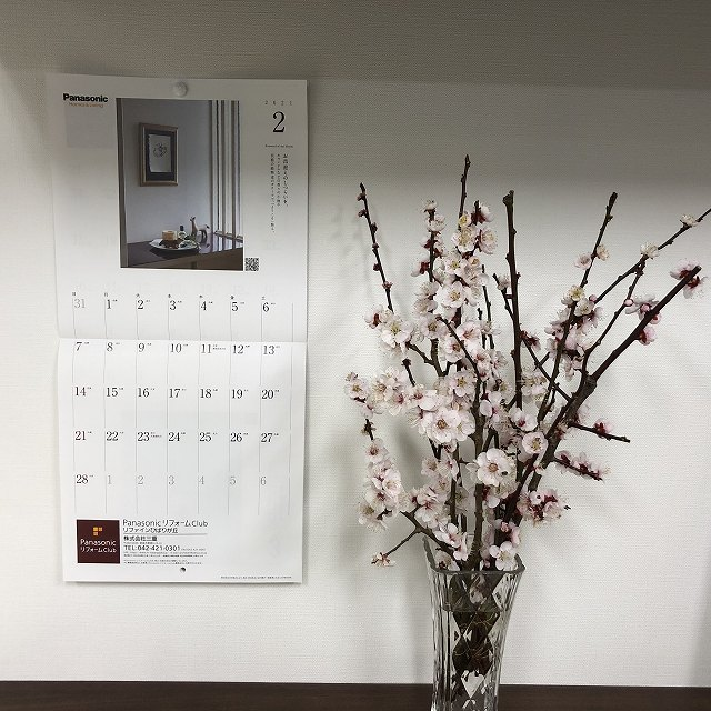 2月のカレンダーと梅の花