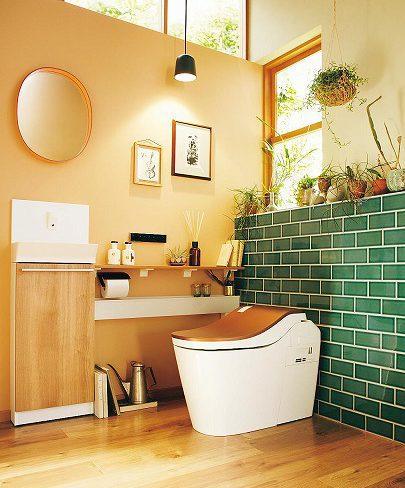 トイレの壁にタイル イメージ
